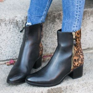 Naturalizer Black Leather Leopard Calf Hair Boots